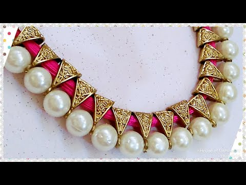 How To Make Antique Silk thread Necklace//Pearl Jewellery..!
