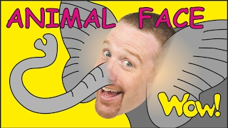 Animal Face for Kids + MORE | Stories for Children | Steve and Maggie from Wow English TV