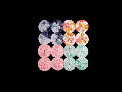 Sewing Fabric Yo-Yos and Suffolk Puffs Together