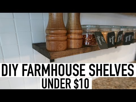 DIY FARMHOUSE SHELVES UNDER $10 + PAINTING KITCHEN BACKSPLASH