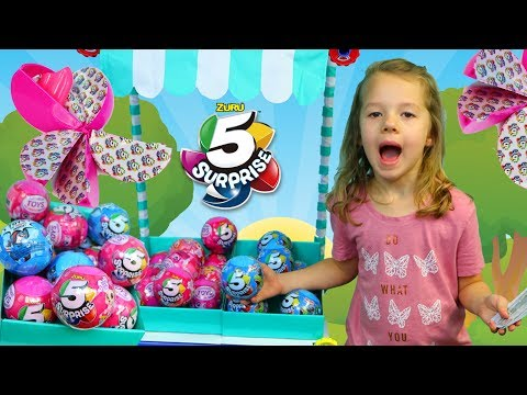5 Surprise Toys at a Fun Play Tent Farmer's Market Behind The Scenes Vlog