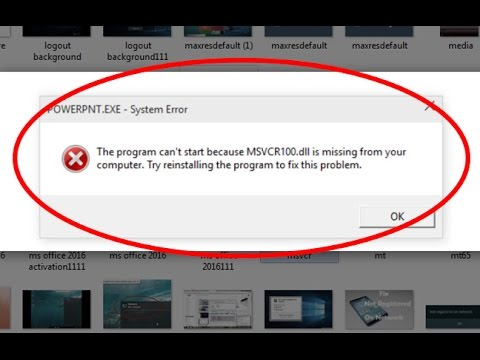 Fix The program can't start because MSVCR100.dll is missing from your computer in windows 10/8/7