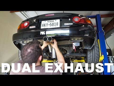 CUSTOM STRAIGHT PIPE DUAL EXHAUST (Project Miata DIY install)