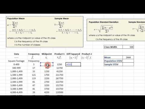 Measures of Central Tendency and Dispersion from Grouped Data - EXCEL 2010