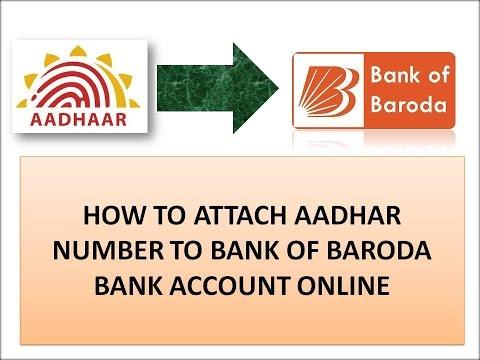 how to link aadhaar number to bank of baroda account online from  home