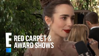 """Lily Collins """"Drops the Mic"""" for Meryl Streep   E! Live from the Red Carpet"""