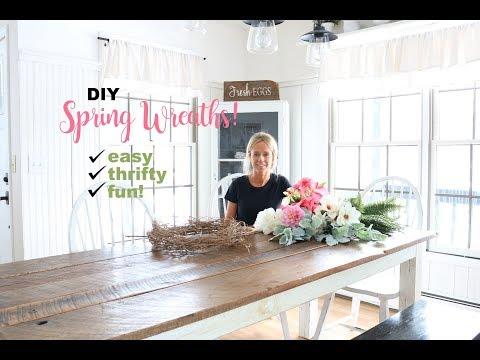 DIY Spring Wreaths, Farmhouse Style. Faux Flowers Wreath
