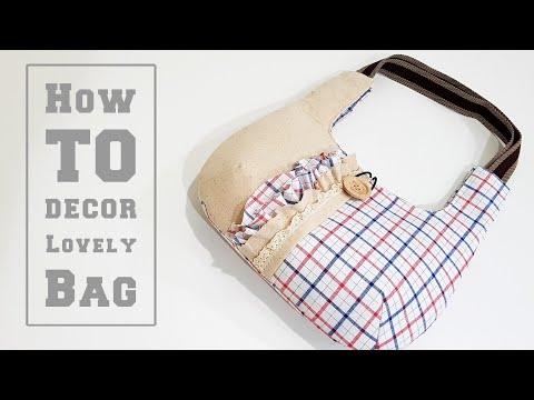 Super easy decor a beautiful handmade bag   DIY bag TUTORIAL   手作包教学分享❤❤