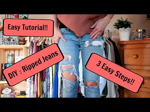 DIY: How to Easily Make Holes/Rips in Jeans! // TUTORIAL
