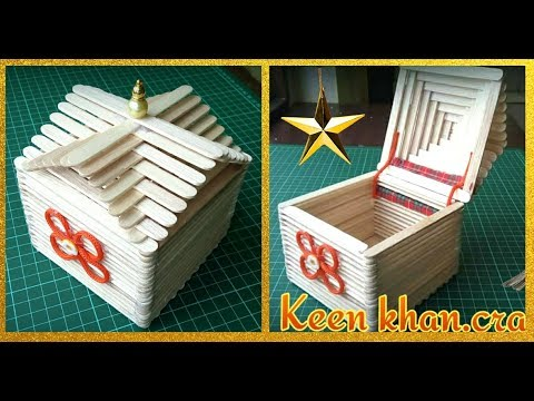 How to make a jewelry box at home - Easy ice cream stick crafts.   چگونه صندوق جواهرات بسازيم