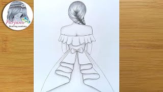 Download How to draw a girl with beautiful dress for beginners || Pencil Sketch || Drawing Tutorial Video