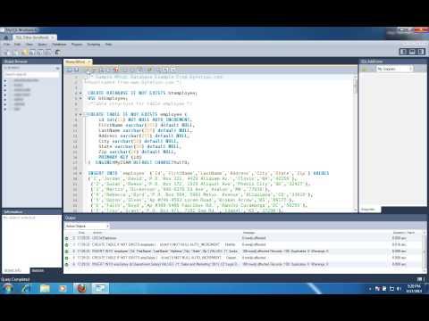 Create / import sample database using MySQL workbench