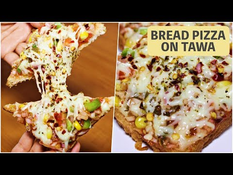 Bread Pizza on Tawa Recipe In Hindi   Make Homemade Bread Pizza without Oven   Kanak's Kitchen