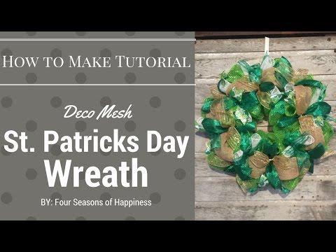 St Patrick's wreath, St Patrick's deco mesh wreath, deco mesh wreath, green deco mesh wreath