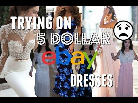 TRYING ON 5 DOLLAR EBAY PROM DRESSES!