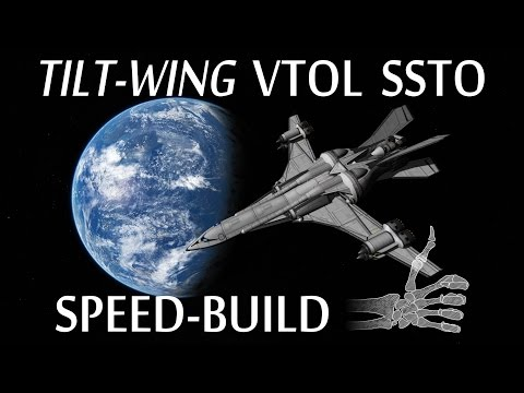 Speedbuild: Tilt-Wing SSTO (STOCK hinges tutorial) - KSP