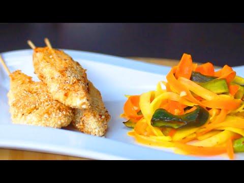 Sesamierte Hähnchenspieße mit Gemüselinguine | Kochen Online