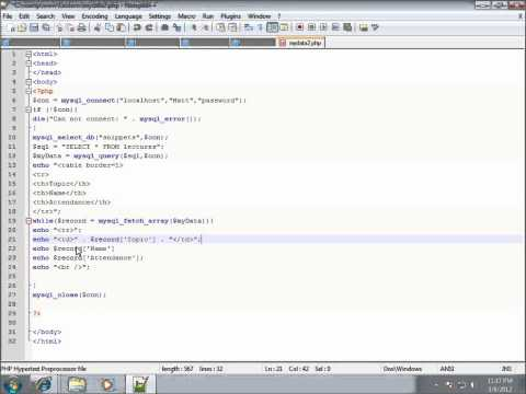PHP Lesson 37 - Displaying MySQL Records in a HTML Table