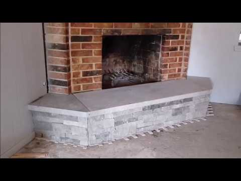 Fireplace Facelift using natural stone veneer