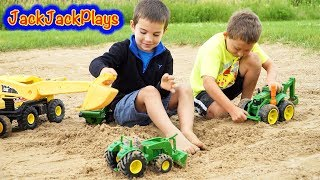 Digger Trucks for Kids - Toy Unboxing and Playing - John Deere Backhoe Tractor