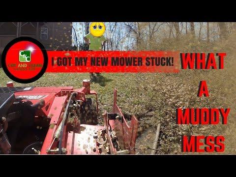 Lawn Care FAIL | I Got My Brand New Mower STUCK in a Creek!