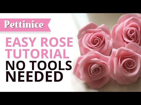 Fast and easy gumpaste rose - no tools needed! Pettinice Cake Tutorials