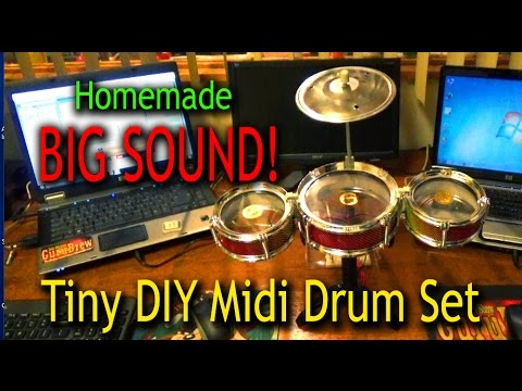 Big Realistic Sound From a Tiny DIY Midi Drum Set !!