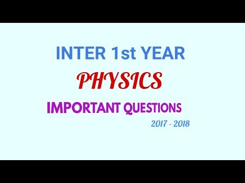 Inter 1st Year Physics Important Questions List 2017-18