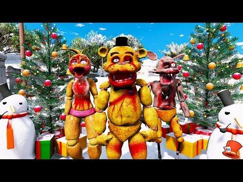 ZOMBIE ANIMATRONICS FIRST CHRISTMAS! (GTA 5 Mods For Kids FNAF RedHatter)