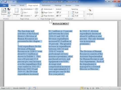 Remove Newspaper Columns - Word 2010