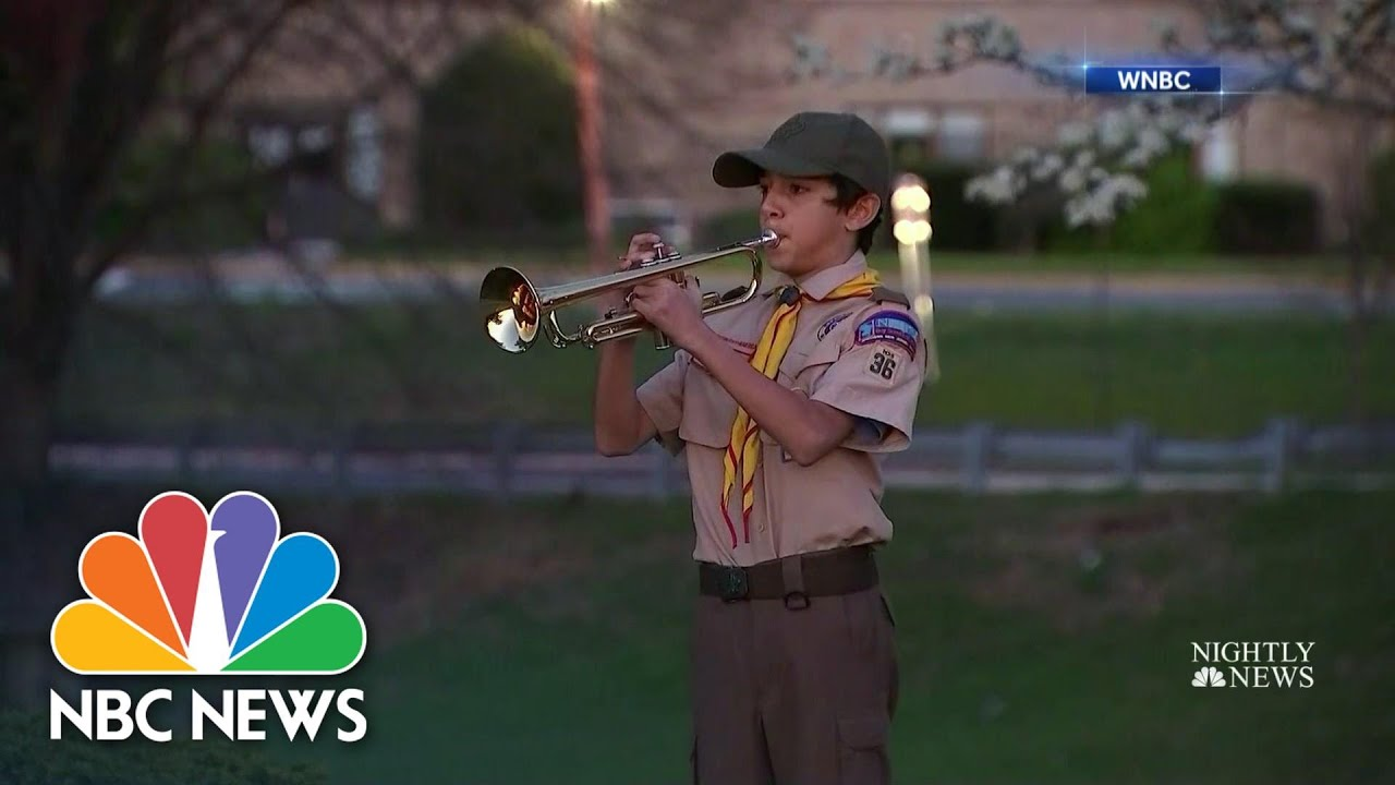 Boy Scout Plays Moving Tribute To Veterans Who Died From Coronavirus   NBC Nightly News