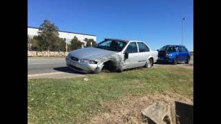 Falcon veers off road and hits Pole - Pinkenba QLD
