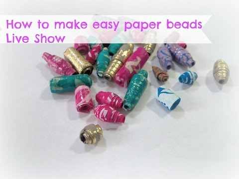 How to make easy paper beads with handmade paper/ DIY Paper beads