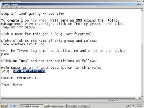 Send SMS from HP Openview - Configuring SMS notifications with the command line client step 1