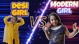 Modern Girl vs Desi Girl  #funnyskech #modernvsdesi