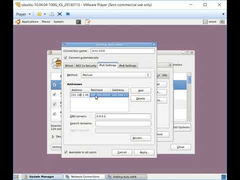 Setting a Static IP address on VMWare