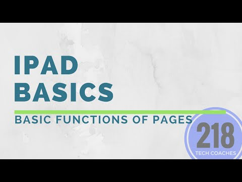 iPads Basics: Basic Functions in Pages