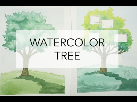 2 ways to paint a Tree in Watercolor (plus how to make it into a Family Tree)