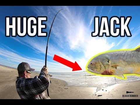Surf Fishing For BIG Jacks | Texas Surf Fishing