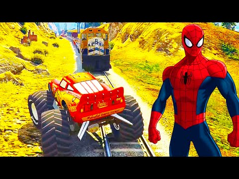 SPIDERMAN Cartoon Train for Kids & LIGHTNING McQueen Monster Truck Nursery Rhymes Children's Songs