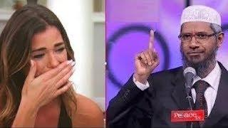 ذاكر نايك كعادته يصدم فتاة إسرائيلية بأجوبة جعلتها تنفجر بالبكاء وتعتنق الاسلام !! الله اكبر