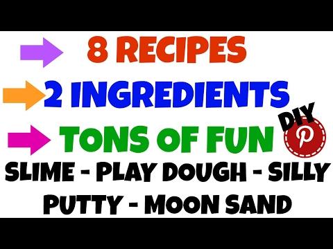 DIY 8 Slime, Play Dough, Clay 2 Ingredient Recipes - DIY Pinterest