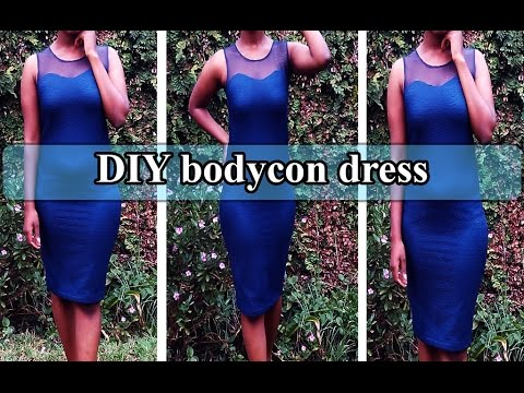 DIY clothes - bodycon dress with sweetheart neckline- No pattern//fast and easy to do tutorial