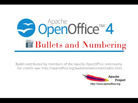 Open Office Writer - Bullets and Numbering