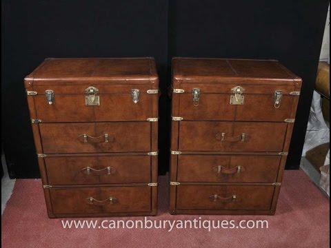 Pair English Leather Campaign Chest Drawers