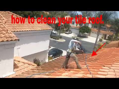 how to video: Cleaning  a tile roof, watch how simple it is.