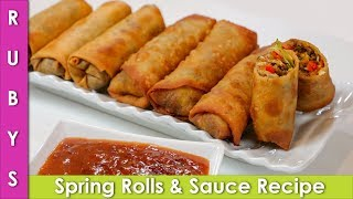 Spring Rolls with Special Sauce Recipe in Urdu Hindi - RKK