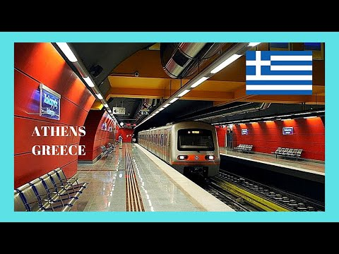 ATHENS: riding the METRO (SUBWAY or UNDERGROUND), GREECE