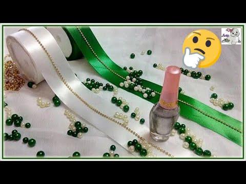 How to make Pearl Beaded Satin Ribbon Hair Jewellery using Nail Polish | Hair Accessories | Diy