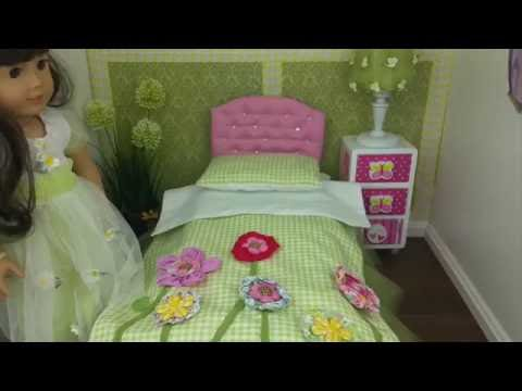DIY garden bed with tufted Headboard for AG Doll